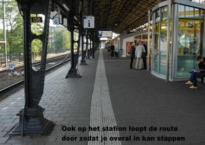 Foto van geleidelijn op perron van ns-station
